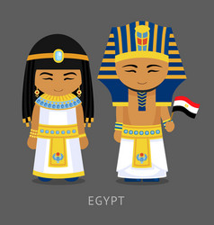 Egyptians in national dress with a flag vector