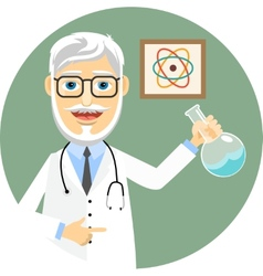 Elderly doctor doing chemical experiments vector