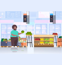 fat obese man with shopping trolley cart choosing vector image