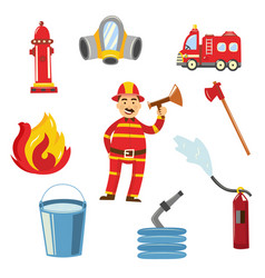fireman in protection uniform equipment set vector image