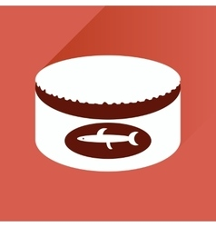 Flat with shadow icon canned fish on stylish vector