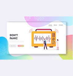 Geological cataclysm landing page template tiny vector