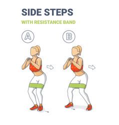 Girl side or lateral walk with resistance band vector