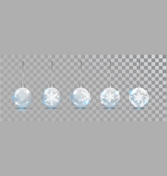 Glass new year balls set with snowflake pattern on vector