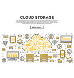 global cloud storage linear style infographics vector image
