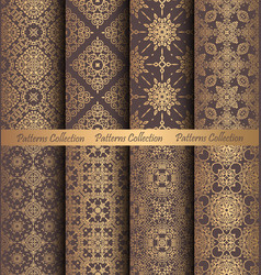 Golden patterns weave vintage design vector