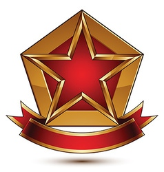 Golden stylized symbol with red star and glamorous vector