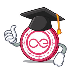 Graduation aeternity coin character cartoon vector