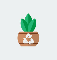 Green plant with pot icon flat design vector