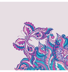 greeting card with paisley pattern and butterfly vector image