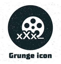Grunge film reel with inscription xxx icon vector