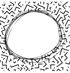 Hand drawn round frame in memphis style fashion vector