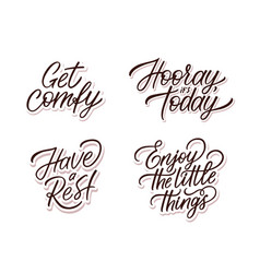 Hand lettering set with quotes for interior vector