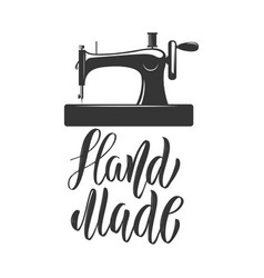 hand made emblem template with sewing machine vector image