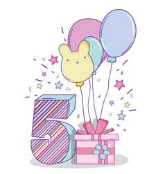 Happy birthday celebration five years with present vector