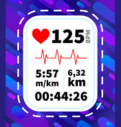 Heart rate monitor display with running dynamic vector
