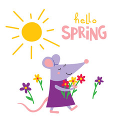 Hello spring greeting card with rat vector