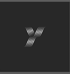 Initial letter y logo monogram overlapping thin vector