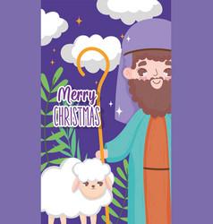Joseph and sheep nativity happy merry christmas vector