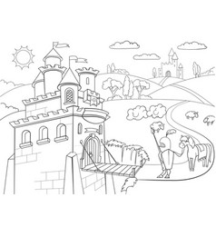 Kids coloring cartoon knightly castle vector