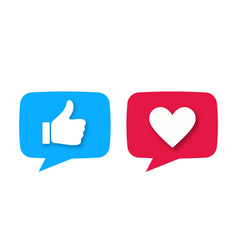 like or thumb up and heart vector image