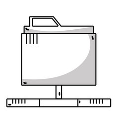 line technology data file folder server vector image
