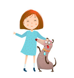 little girl in dress and dog vector image