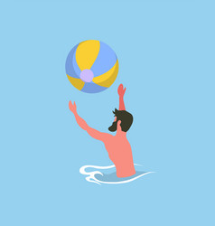 Male playing ball in pool water activity vector