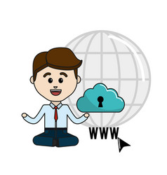 Man with cloud data security service vector