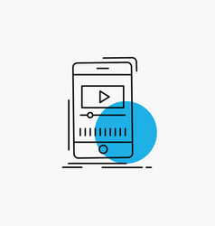 media music player video mobile line icon vector image