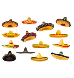 Mexican sombrero hat isolated objects vector