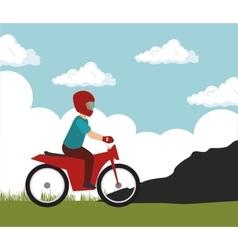 Motorcylcist extreme sport on mountain vector