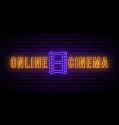online cinema neon signboard bright glowing vector image