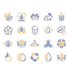 Organic cosmetics line icons no alcohol vector