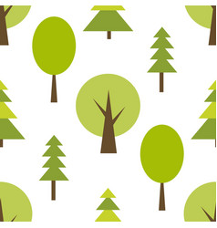 pattern with green forest on white background vector image