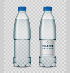 Plastic bottle with mineral water with blue cap vector