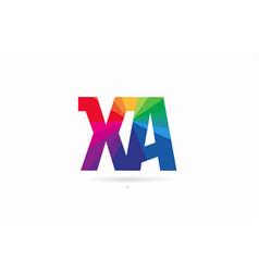 rainbow colored alphabet combination letter xa x vector image