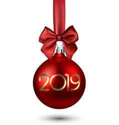 Red 2019 new year christmas ball with satin bow vector