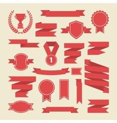 Red ribbonsmedalaward cup setBanner web vector