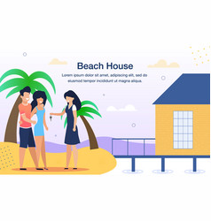 resort beach house rent flat ad banner vector image