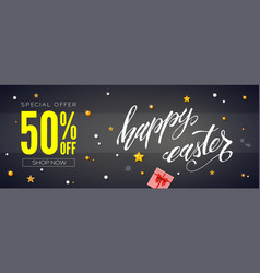 sale 50 percent discount banner with handwritten vector image
