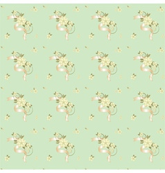 seamless background with flowers and ribbons vector image