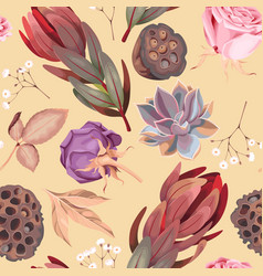 seamless pattern with flowers and succulent vector image