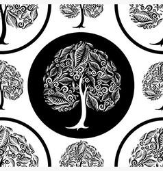 Seamless tree pattern 014 vector