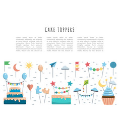 set cake and cupcake toppers vector image