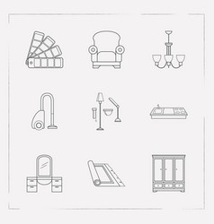 set of decoration icons line style symbols with vector image