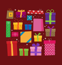 set of icons of gift boxes flat vector image