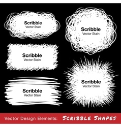 Set of White Hand Drawn Scribble Shapes vector