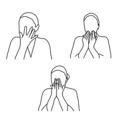 set of woman face massage outline vector image