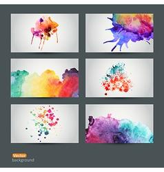 Set six watercolor abstract hand drawn vector